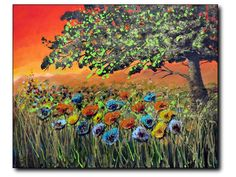 An Ebullient Day Colorful Art, Flower Painting, Floral Art, Norman Rockwell, Colorful Art Paintings, Painting, Art, Contemporary Canvas Painting, Pictures