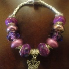 Purple European Charm Bracelet