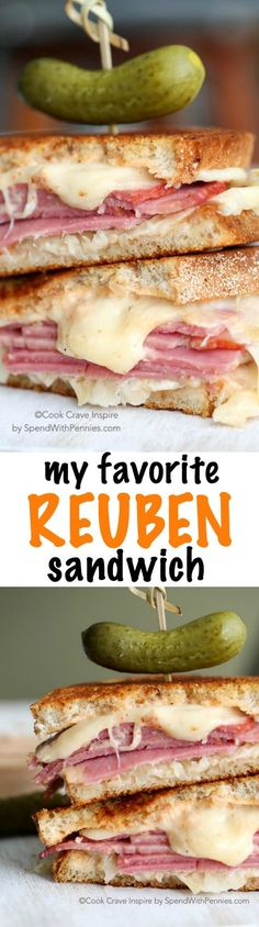 My favorite Reuben Sandwich! Delicious melted swiss cheese paired with tangy sauerkraut and the flavor of good corned beef in between layers of rye bread! I love to make these at home for my family!
