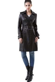 "BGSD Signature Women's ""Nadine"" Lambskin Leather Trench Coat. Check out this great style for $389.99 on Luxury Lane. Click on the image above to get a coupon code for 10% off on your next order."