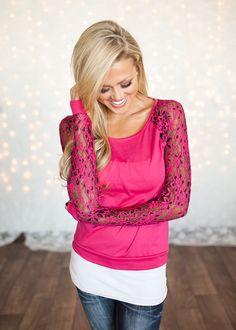 Online boutique. Best outfits. Multi Colored Lace Floral Top Fuschia - Modern Vintage Boutique