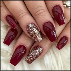 Nail Designs 40 Cute Winter Angel Nail Art to Copy Right Now - Makeup and Beauty - Red Acrylic Nails, Acrylic Nail Designs, Winter Acrylic Nails, Christmas Acrylic Nails, Christmas Nails Colors, Simple Christmas Nails, Christmas Nails 2019, Red Gel Nails, Xmas Nails