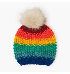 Accessories Grass Green Rainbow Pom-Pom Beanie by Gymboree. polyester aa4329b82653