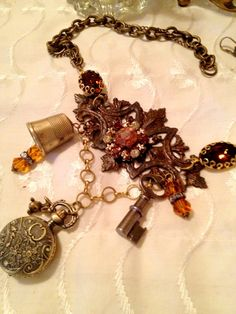 Steampunk Neo Victorian Industrial Rhinestone Key Thimble Amber Pocketwatch Necklace