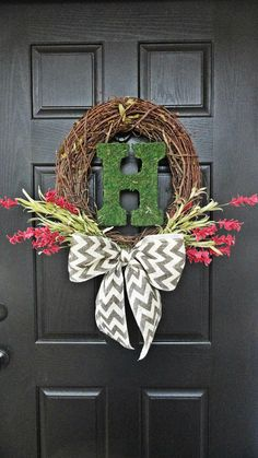 Bright Red Wildflowers with Chevron Burlap Bow and Moss covered Monogram Wreath via Etsy