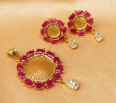 Gorgeous CZ gold Plated Pendent Set