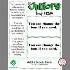 Girl Scout Junior Newsletter Template - PDF [Junior newsletter] - $5.00 : #girlscouts Downloadable PDF with editable fields.