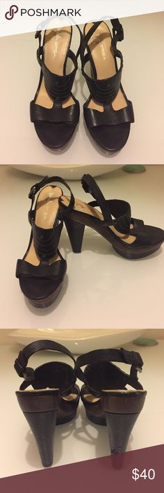 Via Spiga pumps sandals Beautiful gently worn, with a few dings on the heel. Leather and wood platform Via Spiga Shoes Platforms