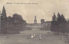 MILANO -1913 - Il Castello Sforzesco visto dal parco