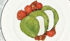 Allegra McEvedy's basil pancakes with cherry tomato ragu