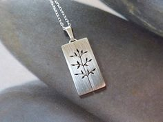Spring tree necklace Sterling silver pendant metalwork by Mirma