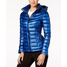 Calvin Klein Petite Packable Puffer Coat, a Style ($100) ❤ liked on Polyvore featuring outerwear, coats, shine sapphire, hooded puffer coat, puffer coats, calvin klein, calvin klein coats and puffy coat