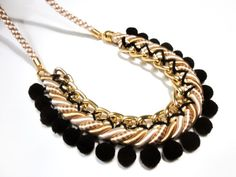 Pompom necklace in black cream and gold by on Etsy, Cream And Gold, Black Cream, Pompom Necklace, Jewelery, Trending Outfits, Unique Jewelry, Handmade Gifts, Greek, Artists