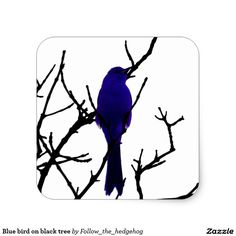 Blue bird on black tree square sticker Find out other colors and versions.
