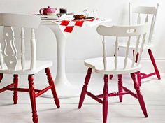 Yum. White and red - rethinking the all-white dining chairs...