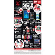 RADIO SHACK 2012 BLACK FRIDAY AD The much-awaited Radio Shack 2012 Black Friday ad has been leaked! As expected, it's filled with amazing deals on computers, cell phones, tablets, home theater, and other electronics and accessories. Customers can also get additional savings, with a $10 Radio Shack coupon given back for every $50 spent on Black Friday.  Radio Shack's Black Friday sale starts at 6:00 am, Friday, Nov. 23. Pricing is valid only until Saturday, Nov. 24.