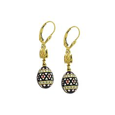 Handcrafted 14kt gold plate over .925 sterling silver Faberge-style Egg mini earrings with Swarovski crystals, enameled coloring and tryzub bail.