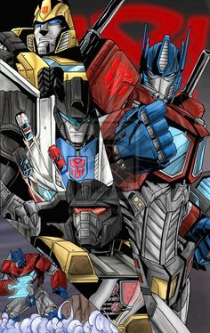 Roll Out - Autobots by 1314 Transformers Autobots, Transformers Characters, Gi Joe, Transformers Generation 1, Arte Robot, Cultura Pop, The Villain, Cartoon Tv, Illustrations