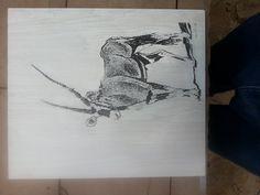 Oryx engraved on compressed wood. Photo VCarve on Melamine board