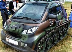 Mercedes Smart Tank - A missile for people acting a fool in traffic is a smart car I can get behind. Mercedes Smart, Smart Auto, Smart Car Body Kits, Car Mods, Smart Fortwo, Weird Cars, Small Cars, Car Humor, Funny Humor