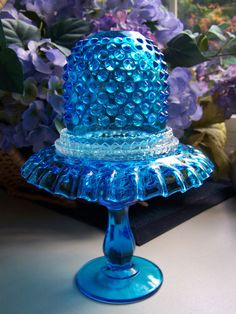 Vintage Fenton Signed 3 Piece Blue Hobnail Fairy Lamp Perfect Condition WOW | eBay