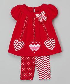 Red Hearts Cap-Sleeve Dress & Pants - Infant, Toddler & Girls