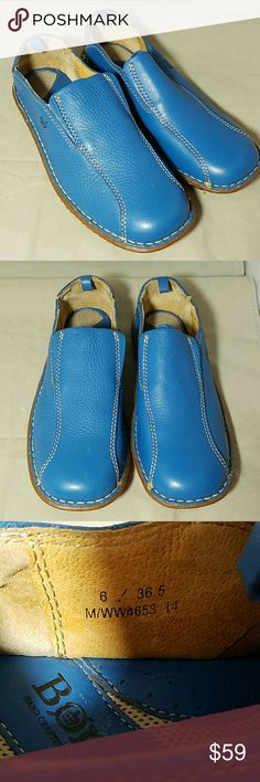 BORN *nwot* Starlet Blue Sz 6.5 Mules Loafers Brand: Born  Item: *Gorgeous Slip On Mules or Loafer *Color is 'Starlet' Blue *Cre Stitching *Elastic On Top of Shoes on Each Side of the 'Tongue' to Keep Snug on Your Feet. *Hand Crafted in China  Color: Starlet Blue  Size: 6.5 M Medium  Materials: Leather Upper & Leather Lining   Condition: NWOT, Never Worn Born Shoes Flats & Loafers
