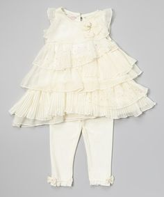 Love this White Ruffle Tunic & Leggings - Infant & Toddler by Nannette Baby on #zulily! #zulilyfinds