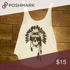 Billabong Indian Skull Tank Only worn once! Amazing Condition. White loose tank with black design Billabong Tops Tank Tops