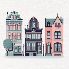 Row Houses Print 14 x 11 French Paper by downtimecollective Cartoon Building, Building Drawing, Building Illustration, House Illustration, Illustration Parisienne, Cartoon Trees, Guache, Architecture Old, Cinema 4d