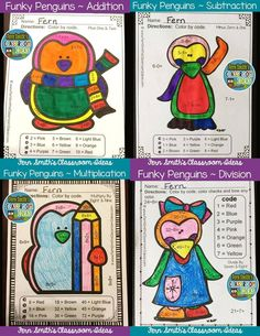Funky Penguins Addition, Subtraction, Multiplication and Division Facts - Color Your Answers Printables for Winter, perfect for winter time in your classroom. Time to mix up the colors so the students can't predict the answers. TWENTY No Prep Printables that can be used for your math center, small group, RTI pull out, seat work or homework. Matching Answer Keys Included. $paid #TpT #FernSmithsClassroomIdeas
