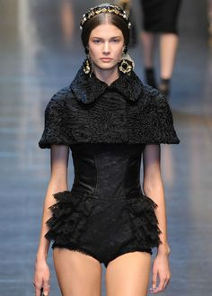 Dolce & Gabbanna  fall/winter 2012  note:  I don't think that little shrug is going to be warm enough for this outfit!