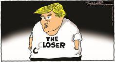 Bob Englehart - CagleCartoons.com - Trump Loses - English - trump, loses,ryan,obamacare,trumpcare,ryancare,aca,affordable care act, repeal,replace,gop,republicans,freedom caucus,health care