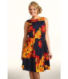 9e6a92870b5d Ellen Tracy Crepe De Chine Pleated Fit  amp  Flare Dress Floral - Zappos.com