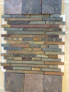 Another slate backsplash idea Modern Kitchen Backsplash, Slate Backsplash, Ugly Kitchen, Grey Brick, Hoods, Tiles, Decor, Room Tiles, Cowls