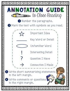 Annotation Guide to Close Reading- This reference sheet includes annotation marks and steps to annotating text. Available as an 8 1/2 x 11 reference sheet and as bookmarks. Color and black & white. #closereading #annotationguide Close Reading Lessons, Close Reading Strategies, Avid Strategies, Memory Strategies, Study Skills, Reading Skills, Reading Workshop, Guided Reading, Reading Groups