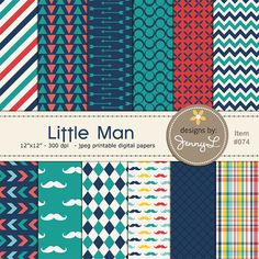 Little Man Mustache Printable Digital Papers for Digi-Scrapping, Cards, Invitations, INSTANT DOWNLOAD Personal and Commercial Use