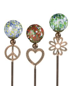 Look at this Peace, Love & Beauty Garden Stake Set on #zulily today!