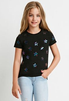 Girls Sequin Star-Patterned Shirt (Kids) | Forever 21 girls - 2000180826