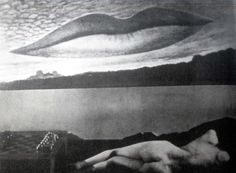 Man Ray,Observatory Time: The Lovers, 1936 featuring the lips of Lee Miller Man Ray Photography, Photography Collage, Surrealism Photography, Fashion Photography, Surreal Artwork, Lee Miller, Quelques Photos, Learn Art, Unusual Art