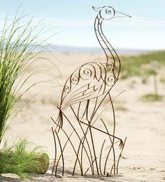 Add a graceful crane to your outdoor living spaces! Handcrafted Crane Garden Trellis is made of metal. Also makes a beautiful garden sculpture. Metal Trellis, Garden Trellis, Garden Deco, Diy Garden, Indoor Garden, Yard Sculptures, Garden Sculpture, Climbing Flowers, Garden Solutions
