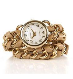 SALE-Beige Chain Wrap Watch