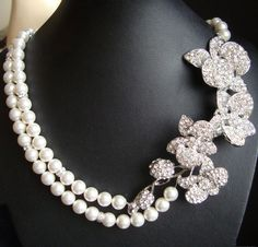 Vintage Bridal Orchid Pearl Necklace, Wedding Jewelry, Statement Rhinestone Double Strand Necklace, ORCHID BLOOM Collection