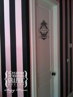 pinkblack striped wall