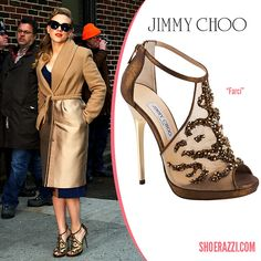 Scarlett Johansson in Jimmy Choo Farci Crystal-Embelished Metallic Leather Platform Sandals - ShoeRazzi