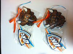 Oklahoma City Thunder party favors  www.facebook.com/lacyescakeryandcookies