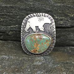 Green Turquoise Bear Pendant, Sterling Silver, Old Stock American Turquoise, Polar Bear, Black Bear, Bear Medicine, Ursa, Unisex, Made in NH