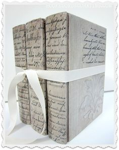 """BOOK CRAFTS :: DIY Tutorial: Make cheap vintage books into beautiful books with paint, stencils & clip art images! :: this would also be a good idea to do on those """"hide-a-way"""" dictionary diversion safes you can find on amazon...to make a pretty vessel for your treasures. :: hookedondecorating.com   #books #crafts #papercrafts"""