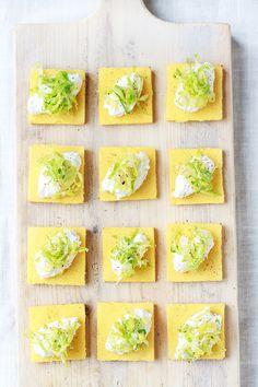 polenta, lemon ricotta & pecorino brussel sprout squares