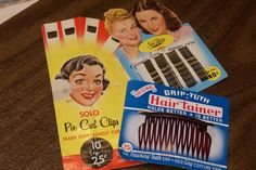 Vintage hair products Hair clips Hair bobbi Pins Hair Comb. $9.85, via Etsy.